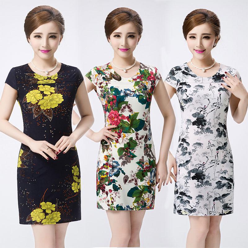 2017 mùa hè mới trung niên phụ nữ ăn mặc trung niên mẹ nạp kích thước lớn Mỏng ngắn tay mùa hè ăn mặc hoa váy