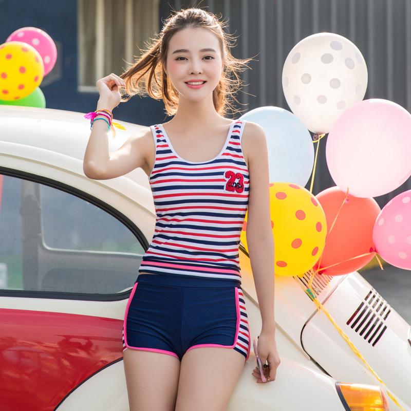 韩版女分体平角裙式比基尼三件套小胸聚拢泳装保守泡温泉游泳衣