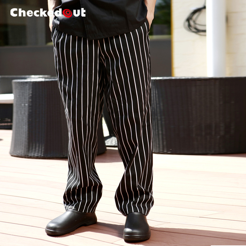 42fc3339f9e Checkedout chef overalls autumn and winter chef suits trousers black and  white zebra pants hotel work pants male