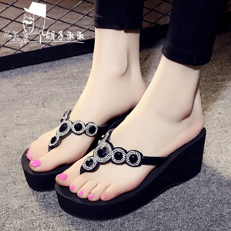 3b7e4cf3f2c2 High-heeled slippers female Summer non-slip clip slope with sandals sandals  Rhinestone thick bottom flip flops fashion beach sandals tide
