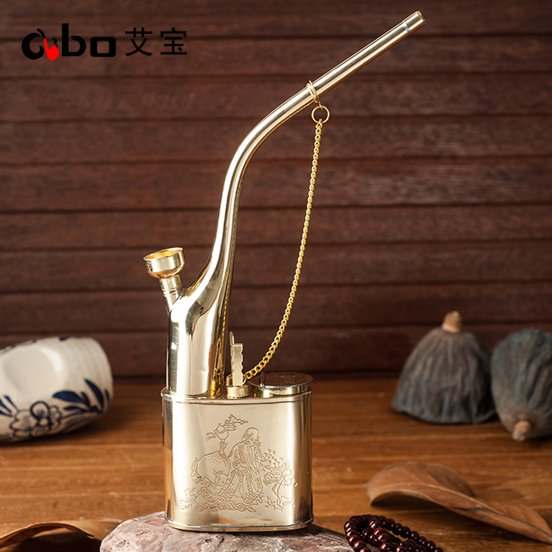 AI Bao smoking with old-fashioned brass water pipe medium copper cigarette  mouth water pipe pot tobacco dual-use water pipe