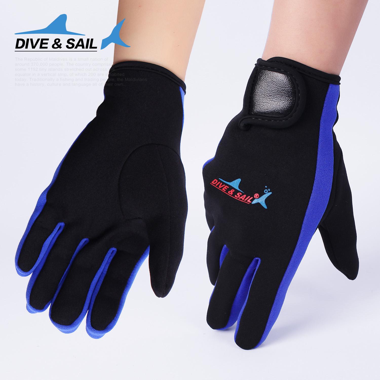 DIVE&SAIL 1.5MM тонкая модель группа на липучках поплавок скрытая дайвинг перчатки противо наконечник скольжение зима плавание перчатки