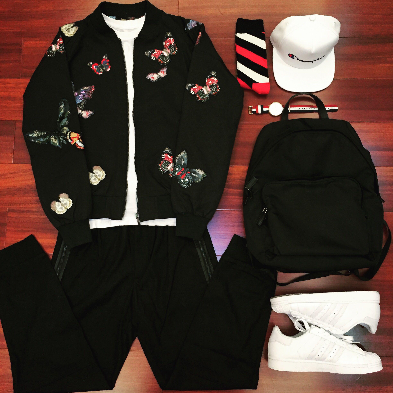香港代购正品新款 华伦家V家 刺绣蝴蝶迷彩 潮女款男士夹克外套
