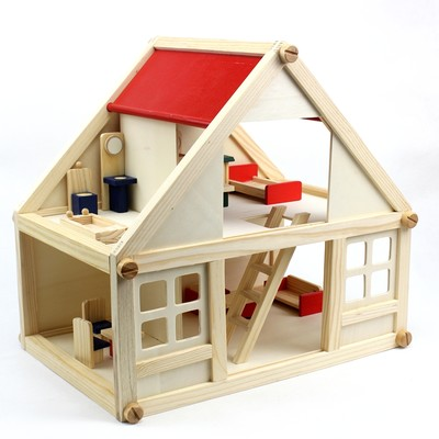 Play house series mini simulation house house scene assembly children's early education educational wooden folding toys