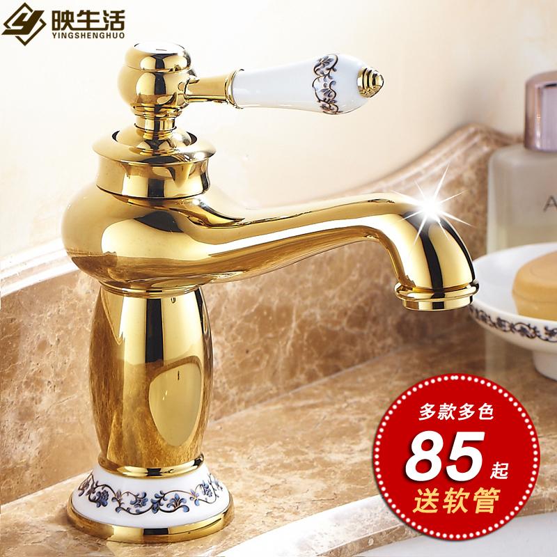Golden water кран горячая и холодная континентальный кран все медь ванная комната повышение фарфор столовая гора бассейн позолоченный античный кран