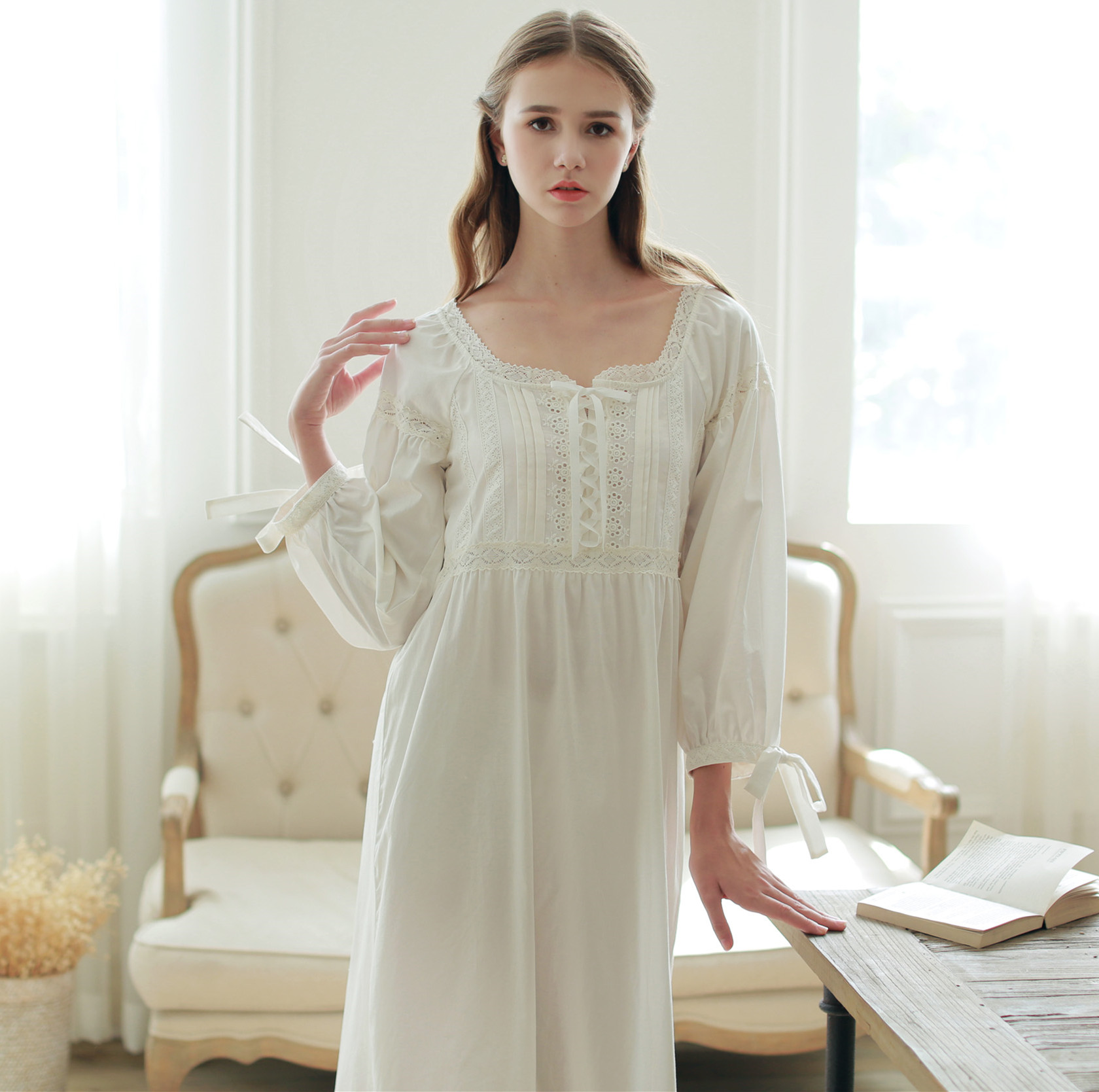 59544d5bbb (In English)medieval retro nightdress cotton long-sleeved pajamas women  Home Service