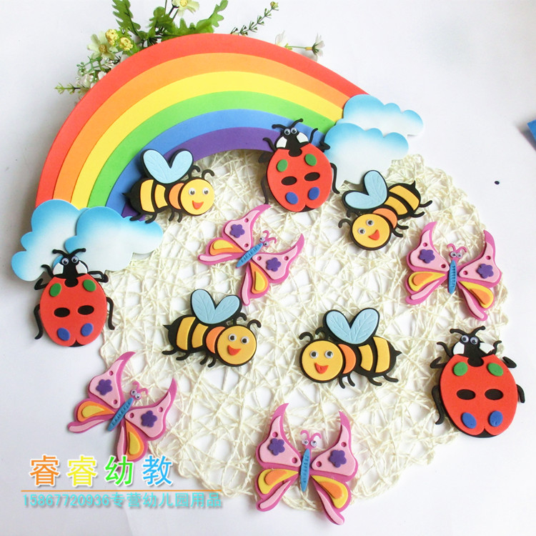 Kindergarten Classroom Wall Newspaper Layout Board Decoration Theme Foam Insect Bee Butterfly Ladybug Snail