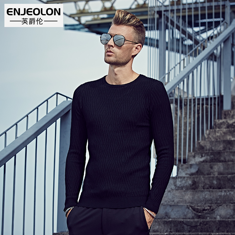British Grand fall/winter men's slim t Europe simple solid color sweater Turtleneck Sweater Top sweater