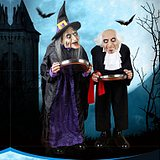 Free shipping candy tray witch Halloween party bar KTV old lady talking scary decorations