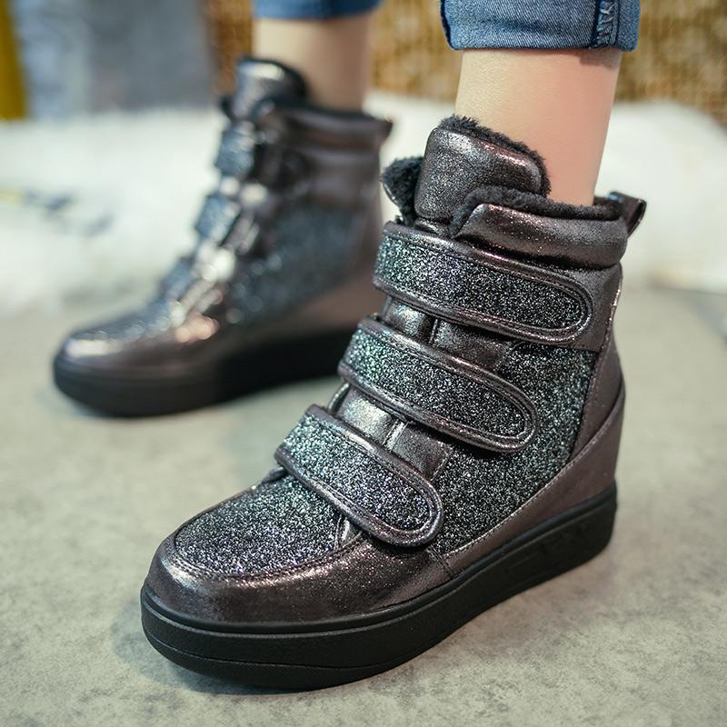 2015冬季新款加棉魔术贴高帮女鞋韩版内增高厚底运动鞋休闲女棉鞋