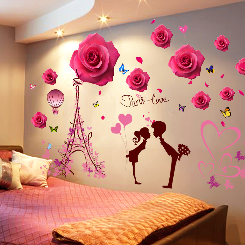 3D three-dimensional bedroom wall sticker creative room background wall  bedside wall decoration wall sticker wallpaper self-adhesive
