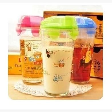 韩国三光云彩玻璃杯子刻度卡通乐扣 彩色儿童水杯正品 带盖pc318