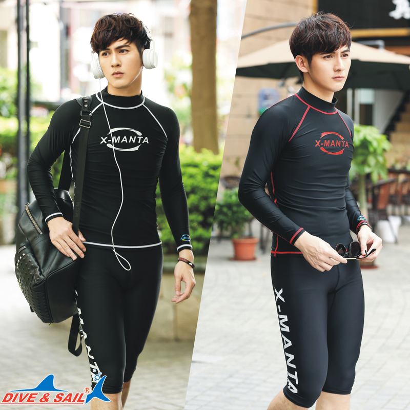94b2c0cd373 DIVESAIL men s split wetsuit surfing snorkeling long sleeve sunscreen tight  sports bathing suit