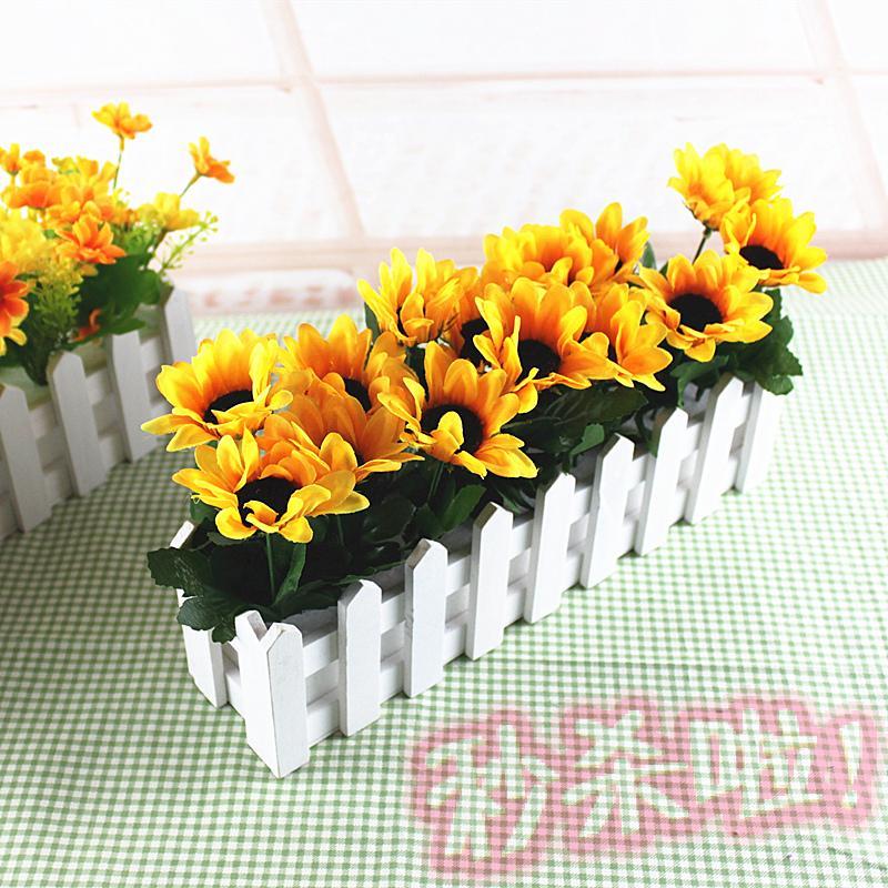 太阳花向日葵栅栏花套装客厅装饰小盆花绢花仿真花假花木栅栏套装