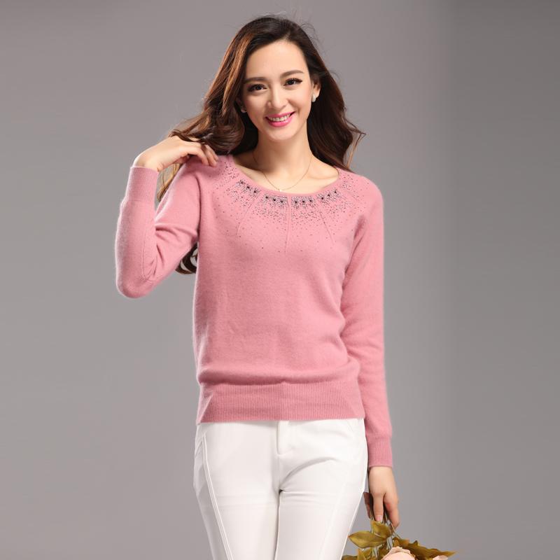 七彩玫瑰1209靓妞粉红玛丽毛衣 羊绒衫 镶钻绣花 羊毛衫 正品包邮