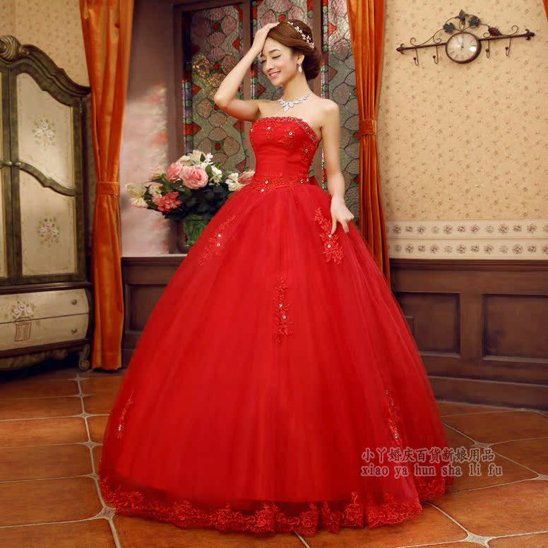 Свадебное платье Свадебное платье по футболу 2018 года новый Хан издание Принцесса красный бандо кружева Алмаз заподлицо ремень лук свадебное платье