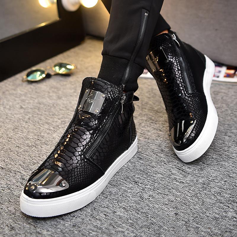 春季蛇皮布洛克短靴发型师棉鞋韩版高帮v蛇皮皮鞋个性男士百搭男鞋