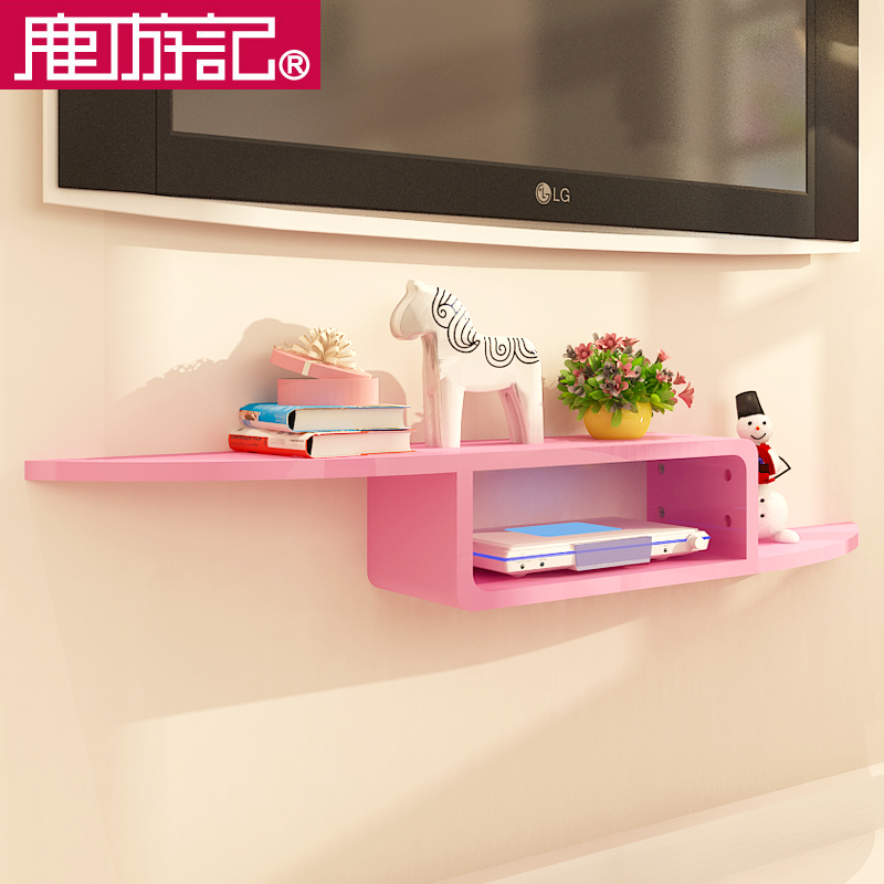 USD 49.24] TV set-top box shelf wall hanging wall background wall ...