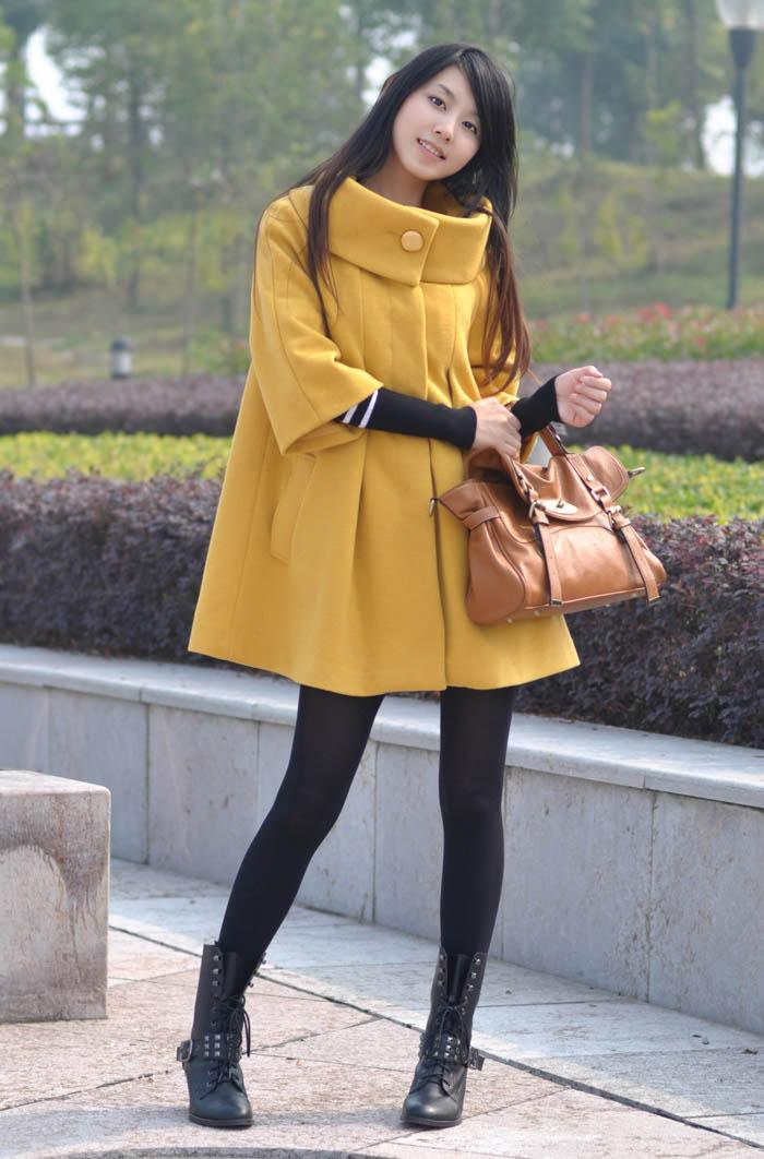 2015韩版女装斗篷毛呢外套女冬装呢子大衣胖mm秋冬新款中长风衣潮