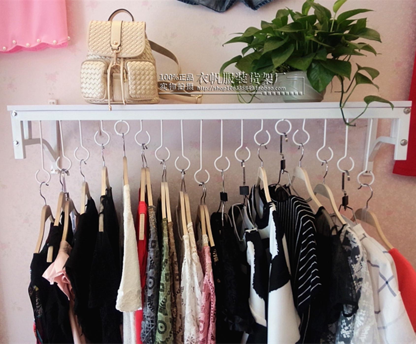 包邮服装货架上墙侧挂服装店衣架展示架铁艺壁挂童装女装店展示架
