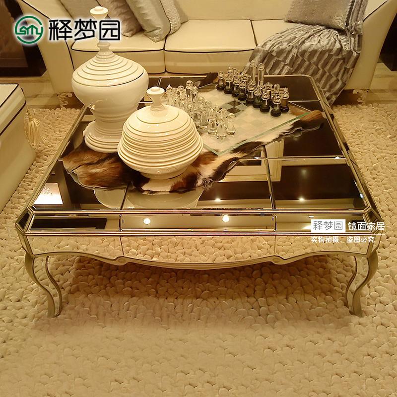 釋夢園 鏡面茶幾時尚簡約茶幾鏡面家具歐式新古典 F1026