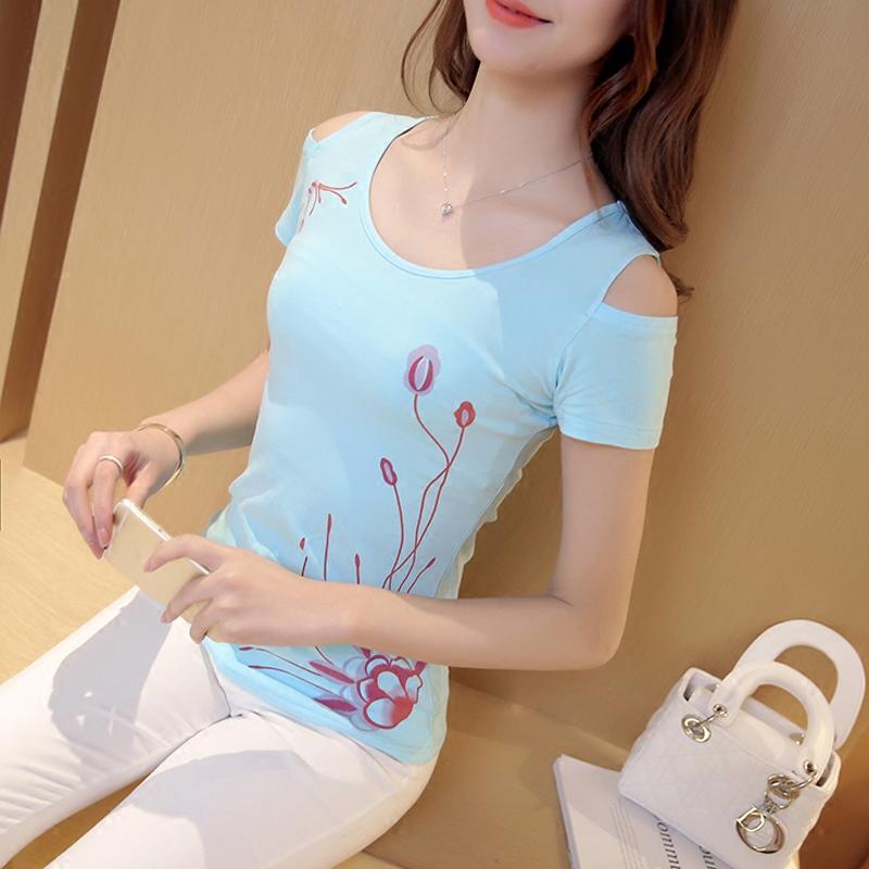 蘑菇街女装夏装2015韩版夏天衣服姐妹装闺蜜装露肩显瘦中长款T恤