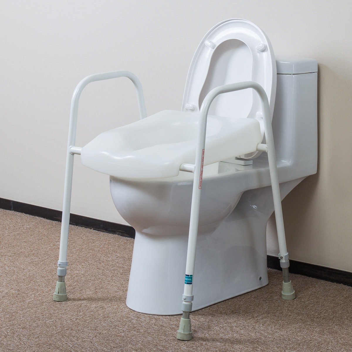 Elderly pregnant woman sitting stool chair moving Toilet booster ...