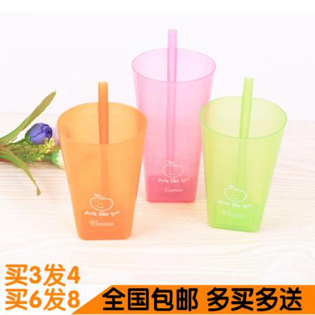 创意家具日用百货小商品炫彩塑料自带吸管杯子无盖一体式果汁杯吸