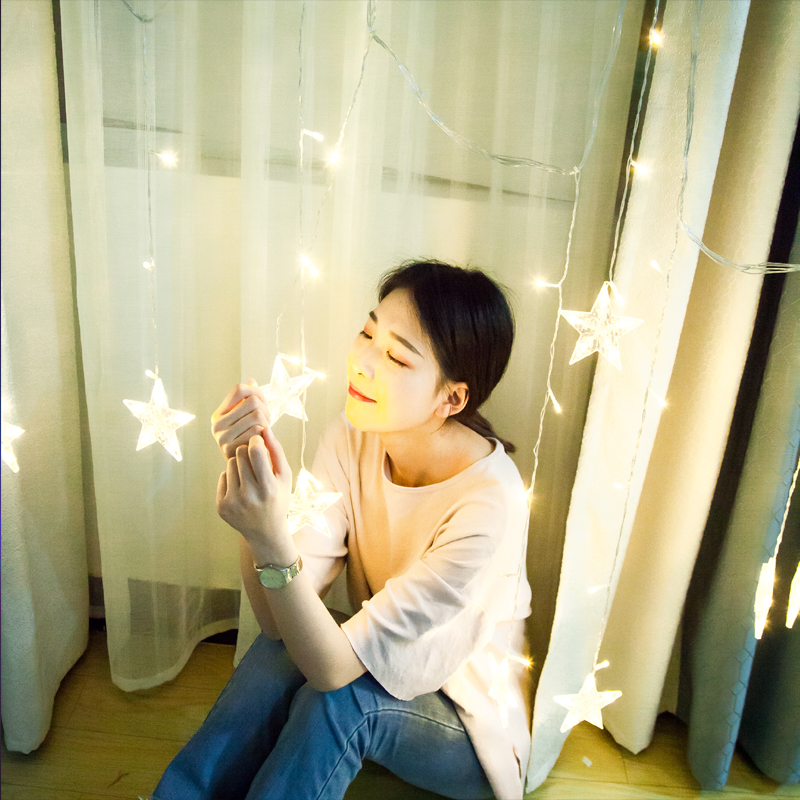 led Star lights five-pointed star curtain Lights Festival KTV romantic room decoration small lights flashing lights string lights full of stars