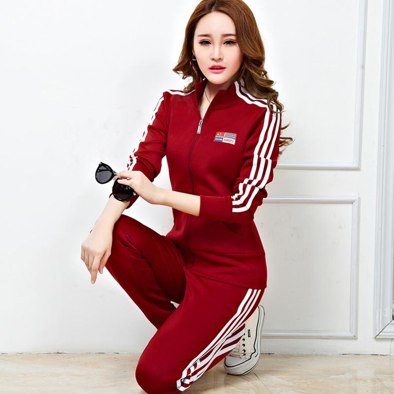 Miễn phí vận chuyển mùa xuân và mùa thu mới Hàn Quốc phụ nữ giản dị áo len dài tay áo len mỏng thể thao phù hợp với nữ thể thao kích thước lớn - Thể thao sau