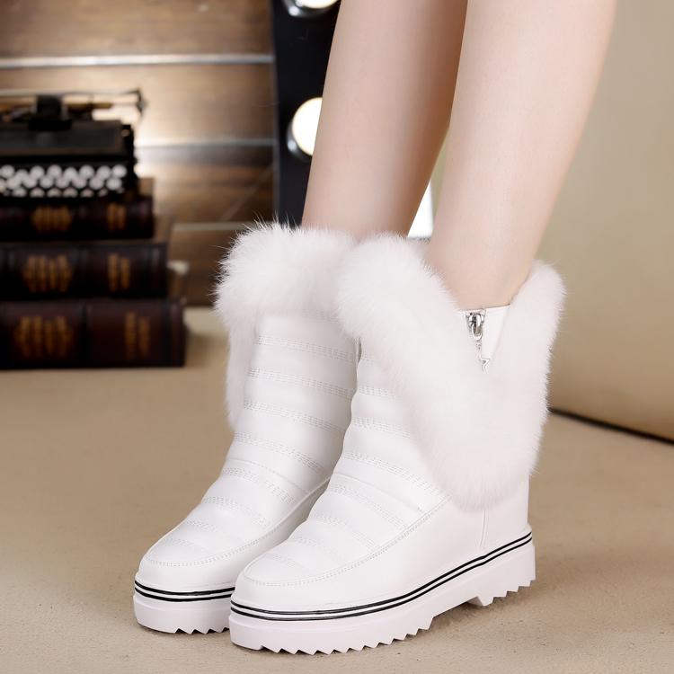 韩版潮冬季内增高女鞋厚底加绒女靴拉链休闲兔毛雪地靴白色短靴子