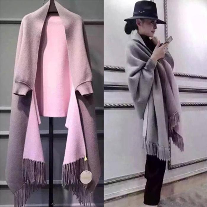2015秋冬装新款羊毛呢外套女流苏蝙蝠袖斗篷披肩开衫双面貂绒大衣