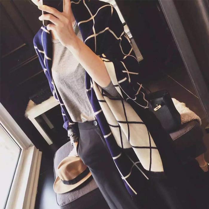 韩版女秋冬季长款英伦格子仿羊绒围巾披肩两用超长加厚冬天围脖