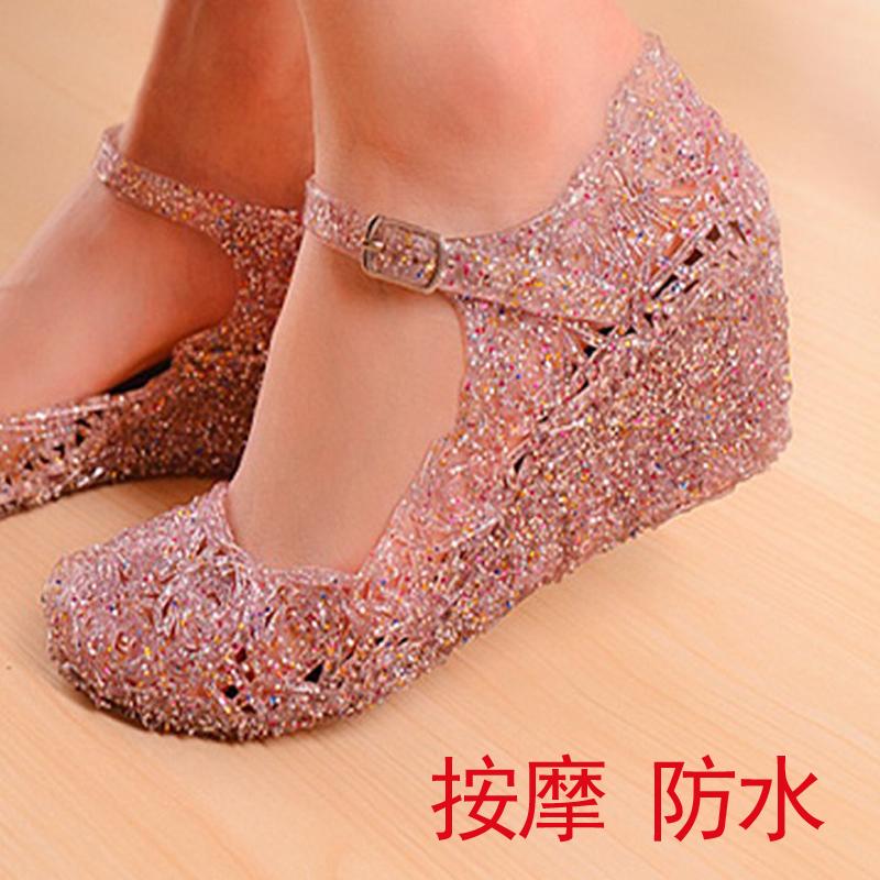 鸟巢女舞蹈果冻塑料坡跟增高镂空塑胶洞凉鞋夏水晶老式胶沙滩朔料