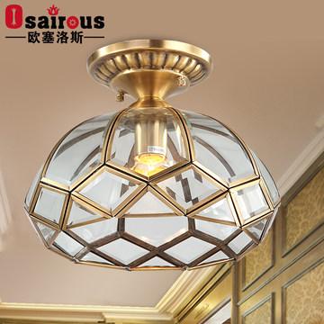 欧塞洛斯 欧式全铜玄关小吸顶灯美式阳台过道门厅全铜吊灯H11C N