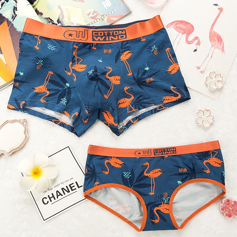 89c7631cd Couple underwear cute cotton creative personality gift cartoon Flamingo  boys underwear briefs women s triangle