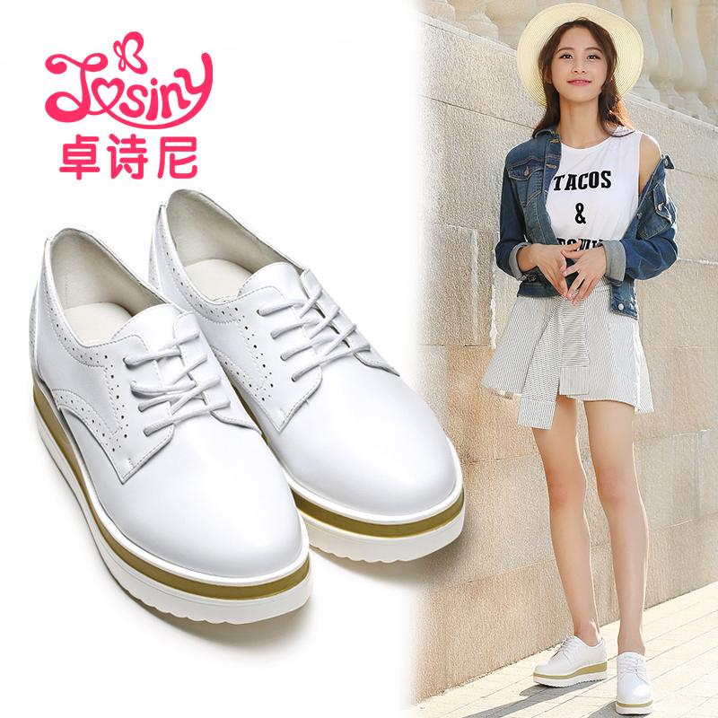 卓诗尼春秋款单鞋松糕厚底坡跟女甜美系带白色皮鞋女112716311