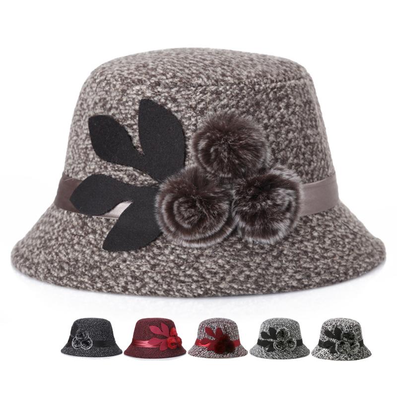 老人毛呢帽子女秋冬兔毛球妈妈礼帽奶奶保暖防寒渔夫帽中老年盆帽