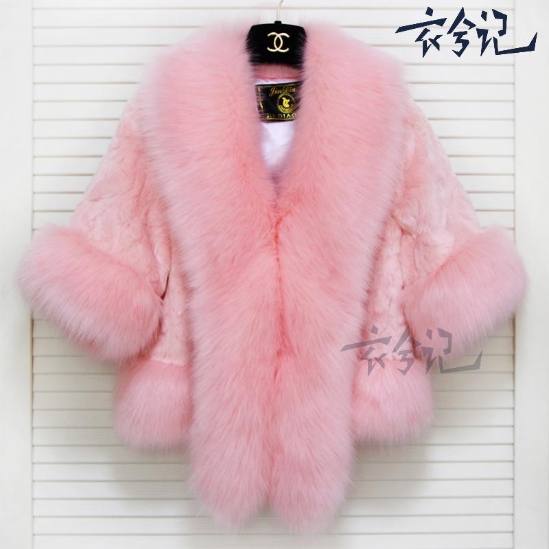 韩版仿短袖毛大毛领女士披肩狐狸外套2015新款秋冬装短款