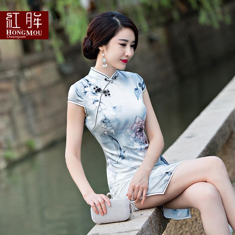 红眸旗袍裙2016新款夏装短款复古连衣裙改良修身显瘦日常礼服时尚