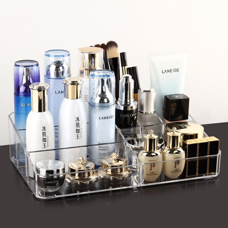 欧邦克桌面化妆品收纳盒 梳妆台透明创意护肤品置物架口红收纳盒