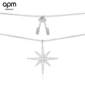 APM Monaco银镶晶钻流星项链吊坠女 锁骨链气质颈链 情侣简约项链