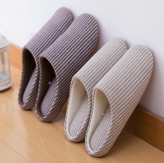 情侣春秋季居家室内无声静音纯棉布底软底不伤实木地板专用拖鞋女