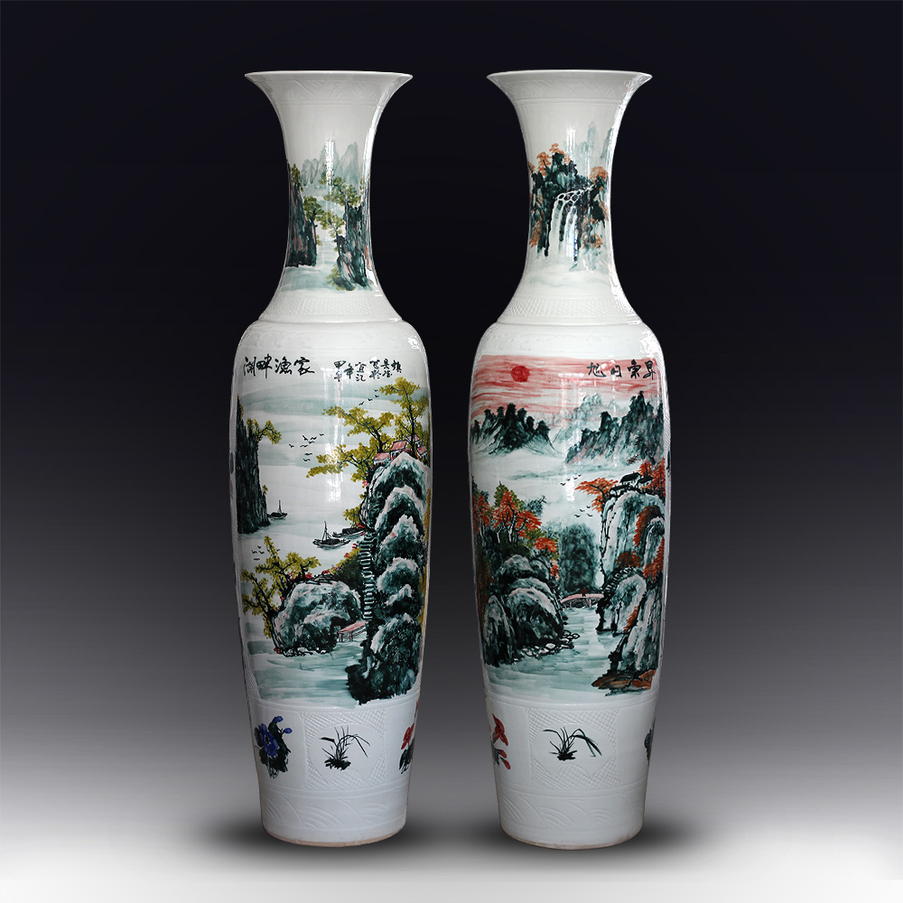 Jingdezhen ceramic hand painted blue and white floor large vase 1 8 meters living room