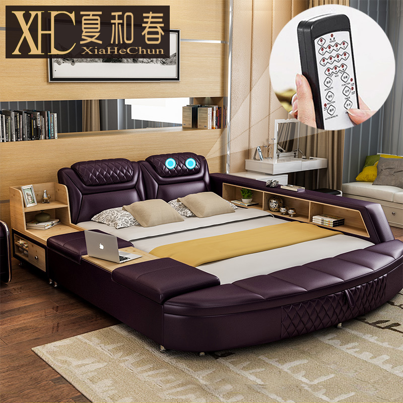 Usd tatami beds leather beds double beds 1 8 m for Leather bedroom furniture