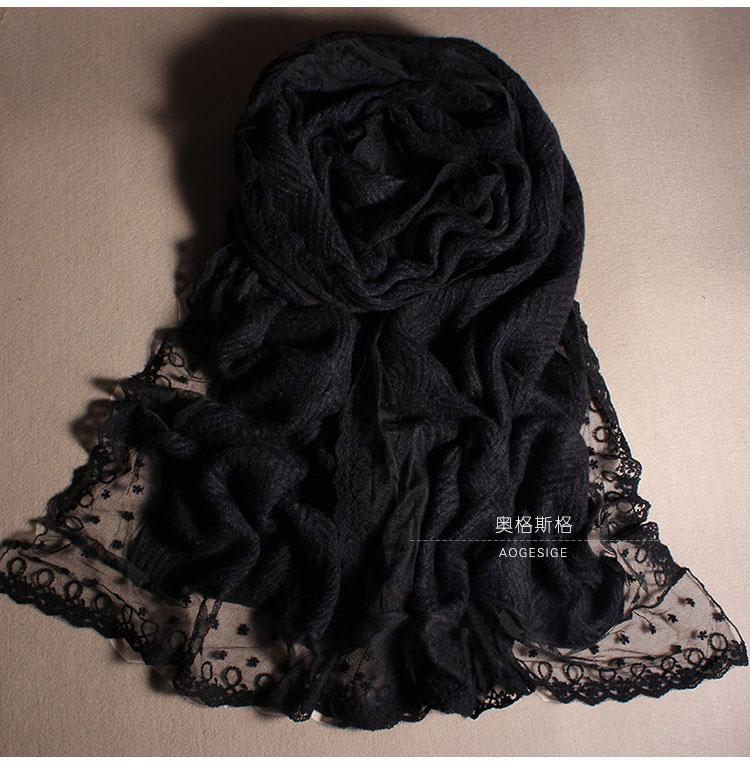 秋冬季韩国纯色羊毛围巾女蕾丝粉色黑色白羊绒加厚超长款毛线围脖