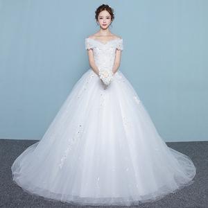 一字肩婚纱礼服新款韩式新娘结婚大码显瘦长拖尾齐地公主夏季