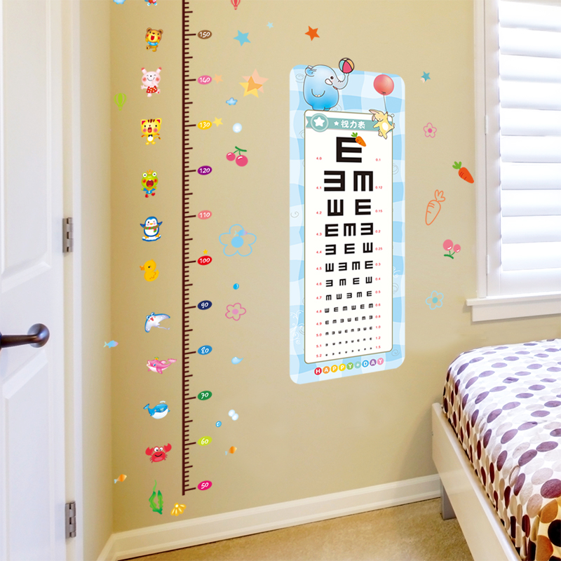 Kindergarten Classroom Arrangement Wall Stickers Childrenu0027s Room Bedroom  Walls Decoration Measuring Height Stickers Eye Chart Art