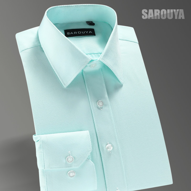 5779a209593924 SAROUYA white shirt male long-sleeved slim men's business suits Non-Iron  Spring groomsman youth solid color shirt
