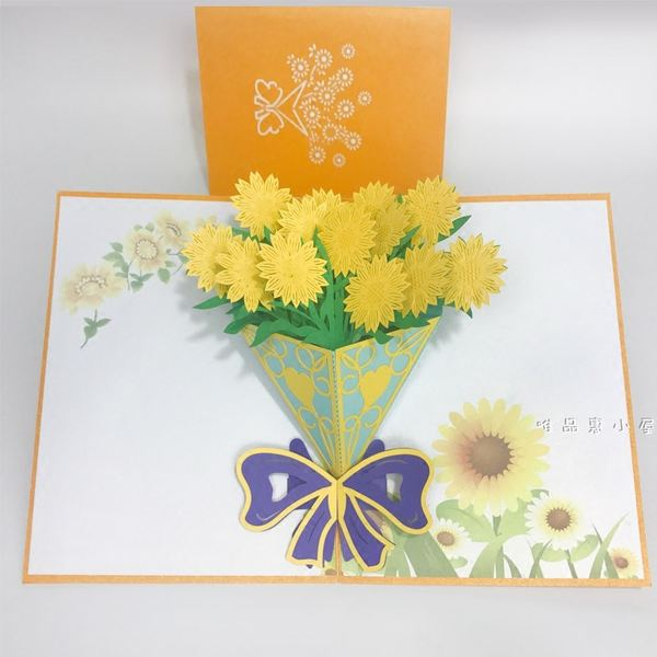 New Year 3d Cards Upscale Flowers Birthday Cards Handmade Yuanxiao
